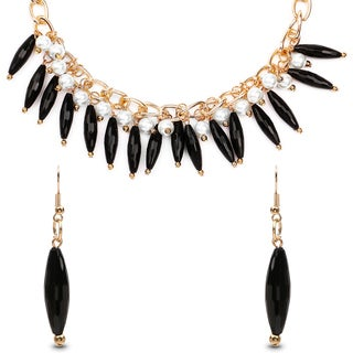 Liliana Bella Gold Plated Black Bead and Faux White Pearl Necklace and Earrings Set