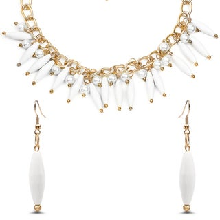 Liliana Bella Gold Plated White Beads and Faux Pearl Necklace and Earring Set