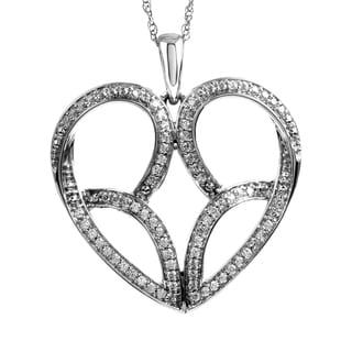 Jessica Simpson 10k White Gold 1/2ct TDW Heart Diamond Pendant