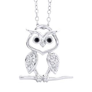 Tender Voices Sterling Silver 1/10CTtw Diamond Owl Pendant
