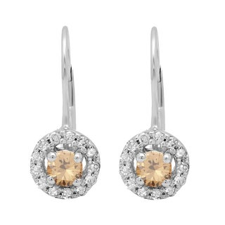 Elora 14k Gold 1/2ct TDW White and Champagne Diamond Halo Style Hoop Earrings (I-J, I2-I3)