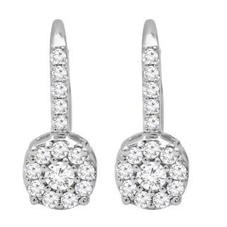 Elora 14k White Gold 1/2ct TDW Round-cut White Diamond Cluster Dangling Drop Earrings (I-J, I1-I2)