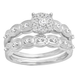 Elora Sterling Silver 1/5ct TDW Round-cut White Diamond Bridal Ring Set (I-J, I2-I3)