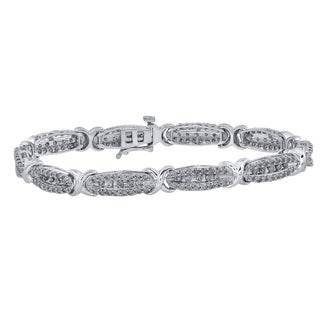 10k White Gold 3ct TDW Diamond Bracelet