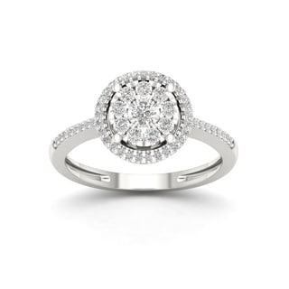 Sterling Silver 1/5ct TDW Diamond Cluster Ring