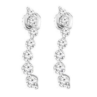 Elora 14k White Gold 3/8ct TDW White Diamond Journery Drop Earrings (I-J, I2-I3)