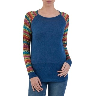 Handcrafted Acrylic Cotton Blend 'Cusco Market in Blue' Sweater (Peru)