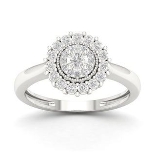Sterling Silver 1/6ct TDW Diamond Cluster Ring