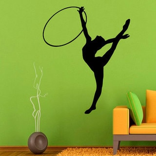 Girl Gymnast With a Hoop Fitness Gym Interior Design Vinyl Decal Sticker Home Art Mural Sticker Decal size 22x26 Color Black