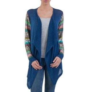 Handcrafted Cotton Blend 'Blue Southern Star' Cardigan (Peru)