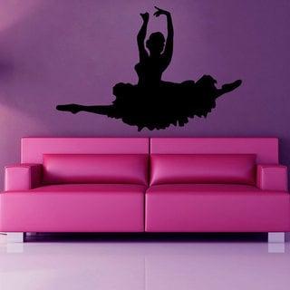 Girl Ballerina Dance Decals Wall Decor Vinyl Art Wall Decor Girl Bedroom Sticker Decal size 48x65 Color Black