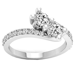Elora 10k Gold 1 1/2ct TGW Round Cubic Zirconia 2-stone Bypass Bridal Ring