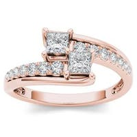 De Couer 14k Rose Gold 5/8ct TDW Two-Stone Diamond Engagement Ring - Pink