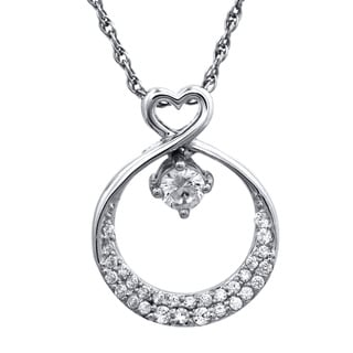 10k White Gold 1/4ctTW Heart Diamond Pendant