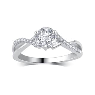 divina 14k white gold 12ct tdw round and marquise diamond engagement ring - Clearance Wedding Rings
