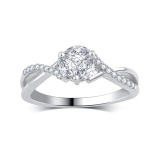 divina 14k white gold 12ct tdw round and marquise diamond engagement ring - Marquise Wedding Rings