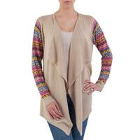 Handmade Cotton Blend 'Pisac Market in Pale Beige' Cardigan (Peru)
