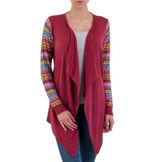Handmade Cotton Blend 'Pisac Market in Wine' Cardigan (Peru)