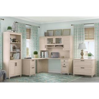 kathy ireland Driftwood Dreams Office Volcano Dusk L-shaped Desk with Hutch, Bookcase and Lateral File Cabinet