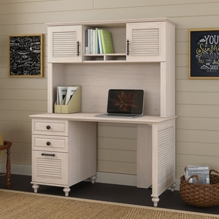 kathy ireland Driftwood Dreams Office Volcano Dusk 51W Desk with Hutch and 3-drawer Pedestal