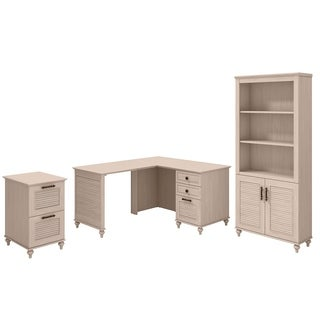 kathy ireland Driftwood Dreams Office Volcano Dusk 51W x 57D L-shaped Desk with Bookcase and File Cabinet