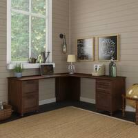 kathy ireland® Office Volcano Dusk L Shape Desk with 2 Pedestals
