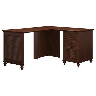 kathy ireland Coastal Cherry Office Volcano Dusk L-shaped Desk with 3-drawer Pedestal|https://ak1.ostkcdn.com/images/products/14434975/P21000720.jpg?impolicy=medium
