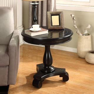 Rene Round Wood Pedestal Side Table