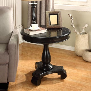 rene round wood pedestal side table option white