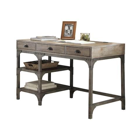 Acme Furniture Gorden Weathered Oak and Antique Silver Desk