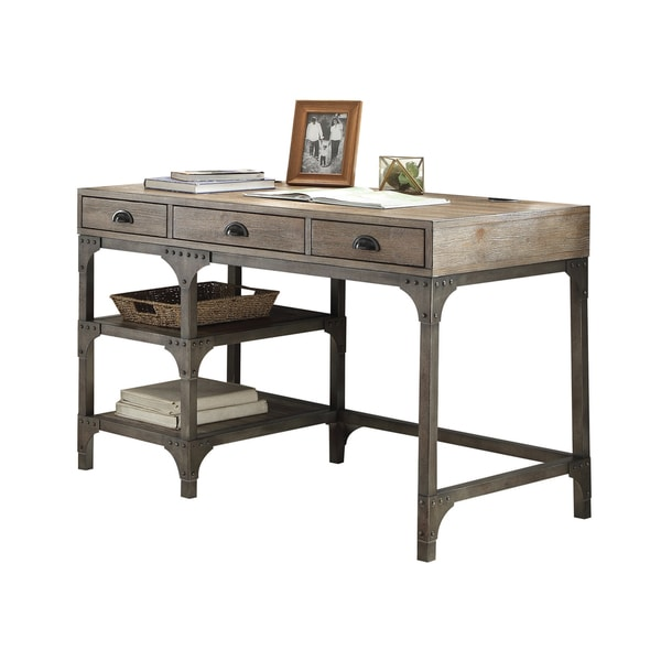 Acme Furniture Gorden Weathered Oak And Antique Silver Desk Free Shipping Today Overstock