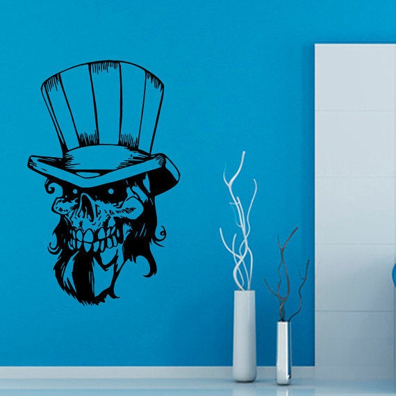 Skull with hat skeleton vinyl decal sticker interior design living room art boy kids room sticker de free shipping today overstock com 21001633