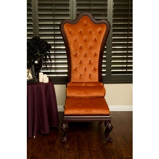 Gothic Inspired Orange Velvet High Back Throne Chair