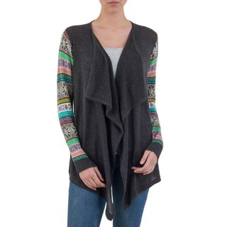 Handcrafted Cotton Blend 'Grey Southern Star' Cardigan (Peru)