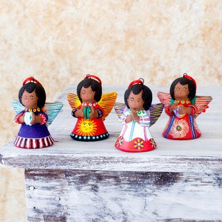 Set of 4 Handcrafted Ceramic 'Angels of the Elements' Ornaments (Guatemala)