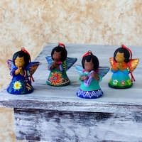 Set of 4 Handmade Ceramic 'Angels of the Forest' Ornaments (Guatemala)