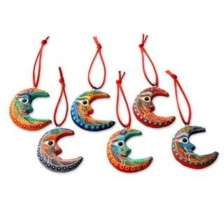 Set of 6 Handmade Ceramic 'Crescent Moon' Ornaments (Guatemala)