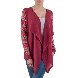 Handmade Cotton Blend 'Garden in Wine' Cardigan (Peru)