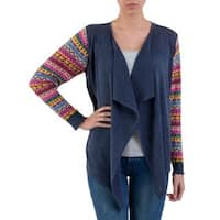 Handmade Cotton Blend 'Pisac Market in Pacific Blue' Cardigan (Peru)