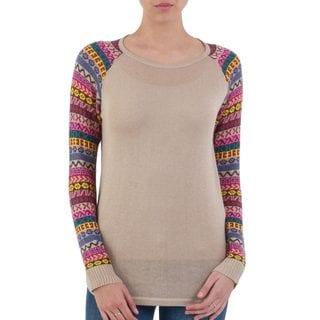 Handmade Acrylic Cotton Blend 'Andean Walk in Pale Beige' Sweater (Peru)