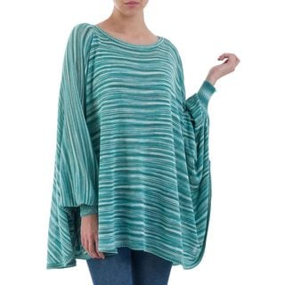Handcrafted Cotton Blend 'Jade Dream' Sweater (Peru)