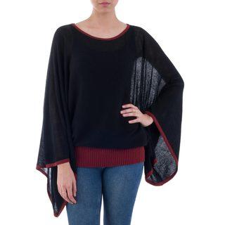 Handcrafted Acrylic Alpaca 'Black Burgundy Dance' Sweater (Peru)