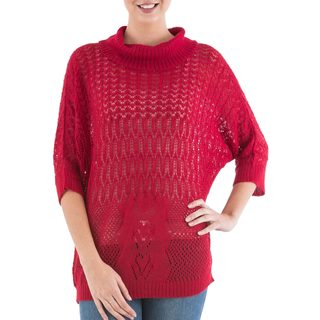 Handmade Acrylic Alpaca Blend 'Evening Flight in Red' Pullover Sweater (Peru)
