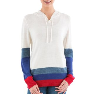 Handmade Acrylic 'Ivory Imagination' Hoodie Sweater (Peru)