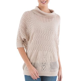 Handcrafted Acrylic Alpaca Blend 'Evening Flight in Beige' Pullover Sweater (Peru)