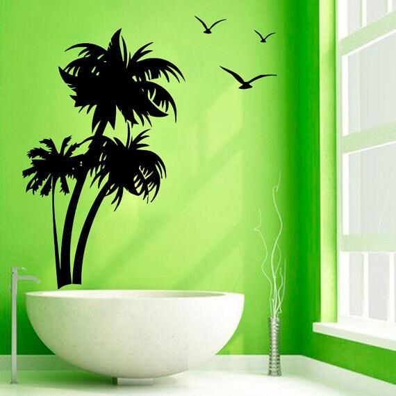 Sea Gulls Bath Palms Decor Home Tree Vinyl Art Spa Wall Nursery Room Sticker