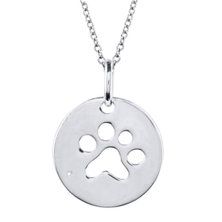 Tender Voices Diamond Accent Paw Pendant in Sterling Silver