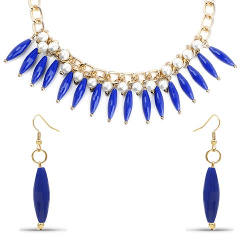 Liliana Bella Goldplated Pearl with Blue Stone Necklace and Earrings Set