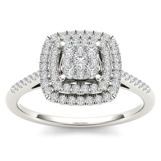 De Couer 1/4ct TDW Diamond Cluster Ring - White
