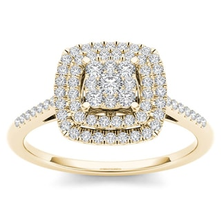 De Couer 1/4ct TDW Diamond Cluster Ring (H-I, I2)